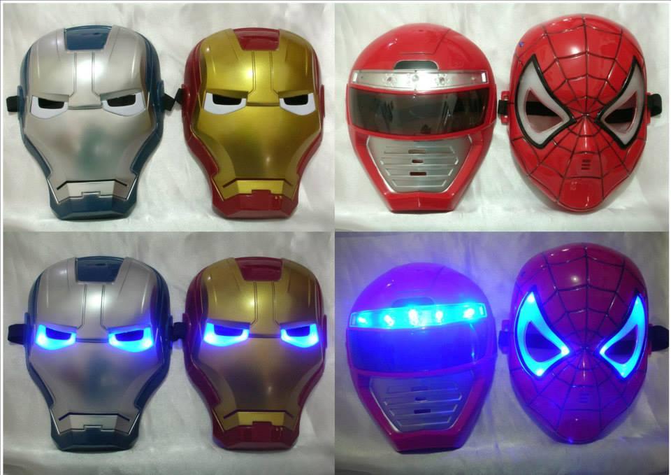 Topeng Nyala Iron Man Spiderman Power Ranger