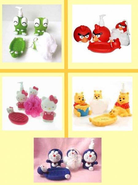 Bathroom Set Karakter Hello Kity Pooh Doraemon Angry Birds - 167