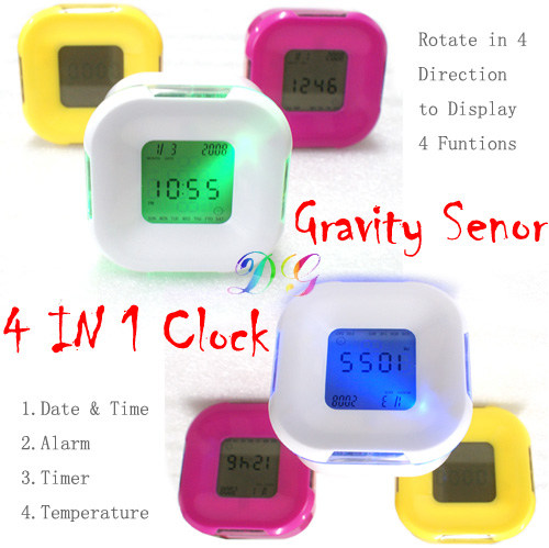 Four Sided Clock Jam Alarm Rotasi - 267