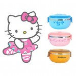 Rantang Susun 1 Bulat Stainless LUNCH BOX HELLO KITTY DORAEMON RILAKUMA – 439