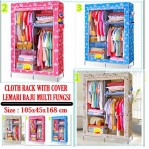 CLOTH RACK WITH COVER Lemari Pakaian Baju Kain Resleting – 460