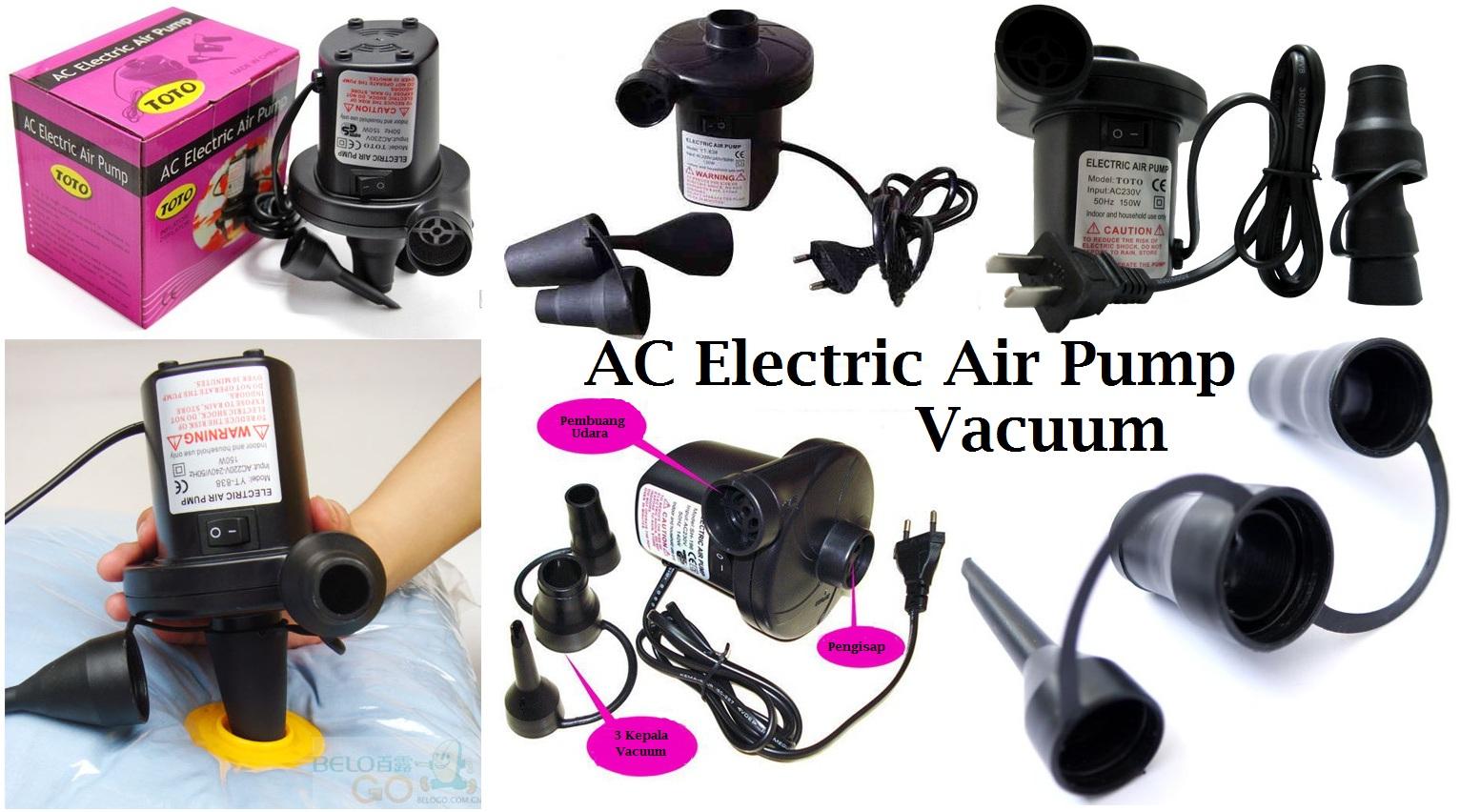 Pompa Dan Vacuum Kasur Angin Listrik 3 Katup Pentil 486 Barang