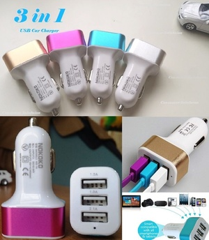 Car Charger 3in1 Port Usb Colokan Lighter Mobil - 583