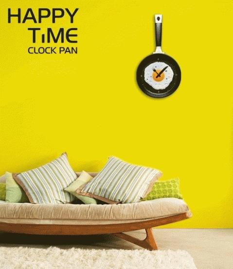 Jam Dinding Teflon Clock Frying Pan Side Sunny Dekorasi Interior - 574