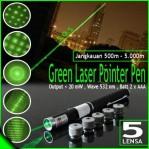 Green Laser Hijau Pointer 5 Mata Souvenir Presentasi – 603