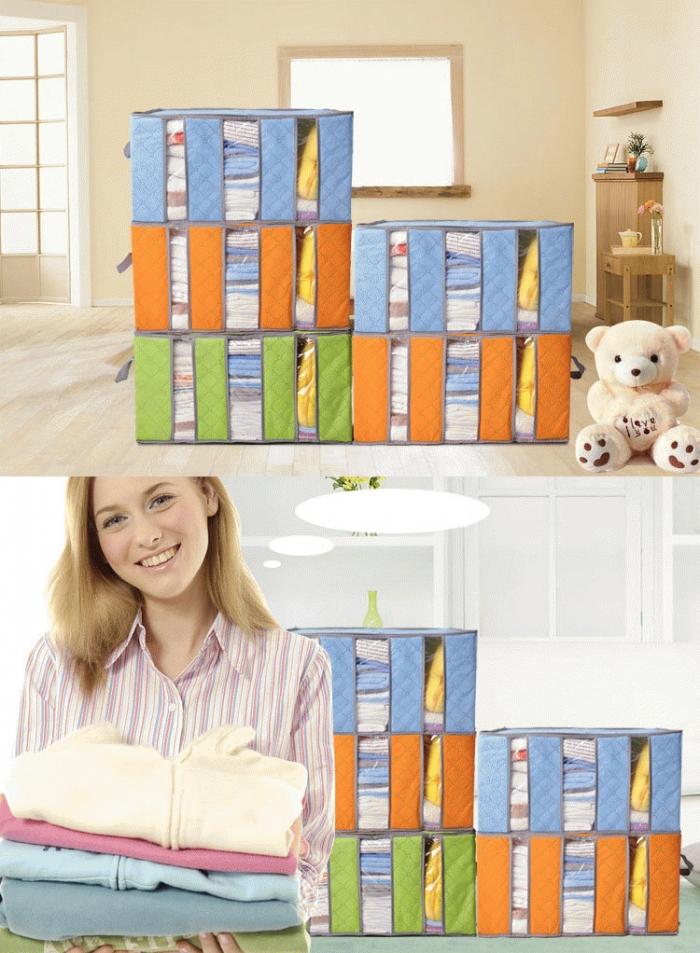 STORAGE BOX BAMBOO 65 LITERS TEMPAT BAJU 3 SEKAT - 600