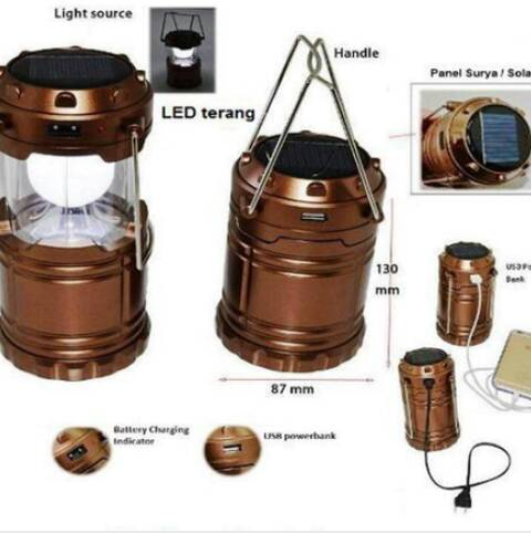 Emergency Led Lentera Solar Charger Power Bank Lampu Darurat - 646