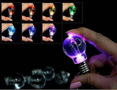 GANTUNGAN KUNCI LAMPU BOHLAM LED BULAT 7 WARNA - 664