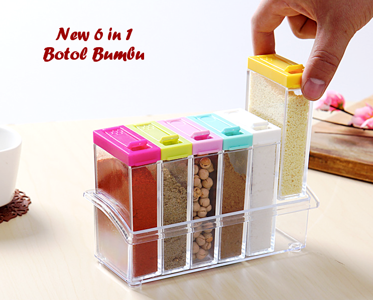 Tempat Bumbu Unik Set 6 In 1 Model Kotak Transparan - 691