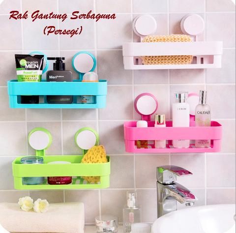 Rak Gantung Persegi Serbaguna Multifungsi Tempat Sabun Shampoo Kamar Mandi - 696