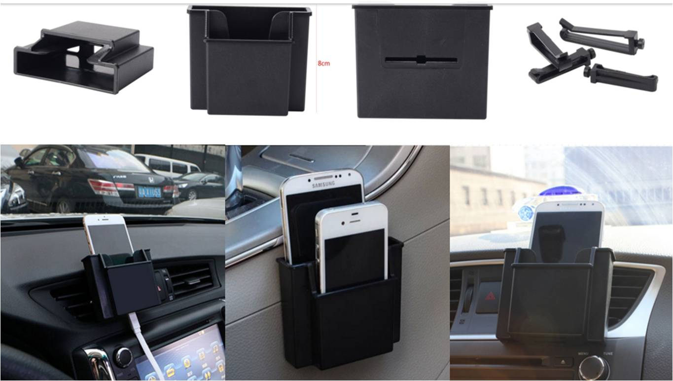 Car Outlet Wind storage BOX + Perekat Mobile Phone Holder Aksesoris Interior Mobil - 703