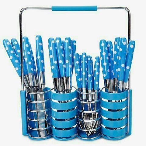 Sendok Garpu Pisau Set Stainless Steel POLKADOT 24Pcs Cutlery Dapur Kitchen NEW - 723