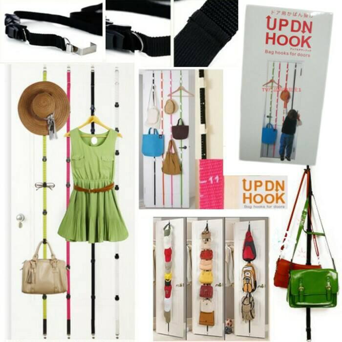 UP DN Hook Hanger Gantungan Pintu Baju Tas Topi Rack Organizer Fashion - 745