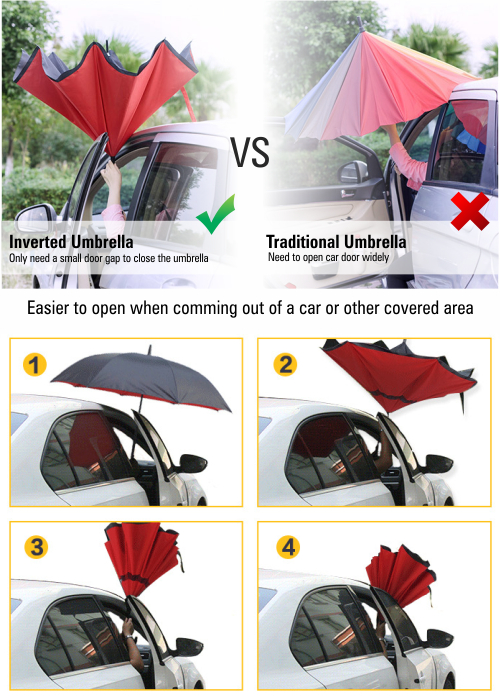 PAYUNG TERBALIK UNIK REVERSE UMBRELLA UPSIDE DOWN MOBIL HUJAN ANTI AIR GAGANG C - 762