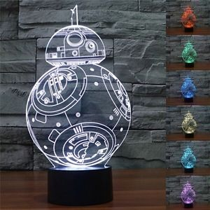 Lampu Proyektor 3D Nyala LED 7 warna Paris Tengkorak Spiderman Ironman Avengers Star Wars - 779
