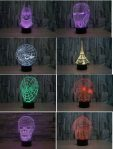 Lampu Proyektor 3D Nyala LED 7 warna Paris Tengkorak Spiderman Ironman Avengers Star Wars – 779