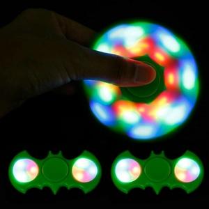 Fidget Spinner LED Batman Metalik Chrome Nyala On Off Mode 3in1 Mainan - 785
